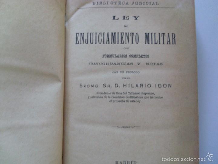 Militaria: LEY DE ENJUICIAMIENTO MILITAR--Hilario Higon--1886 - Foto 3 - 57209156