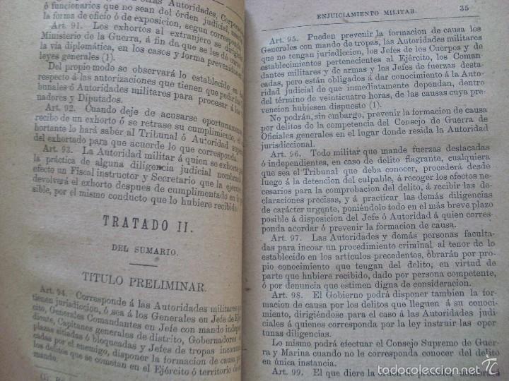 Militaria: LEY DE ENJUICIAMIENTO MILITAR--Hilario Higon--1886 - Foto 4 - 57209156