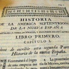 Militaria: LIBRO,HISTORIA DE LA CONQUISTA DE MEXICO,SIGLO XVIII, AÑO 1786,TEMA CONQUISTADORES HERNAN CORTES. Lote 57236122