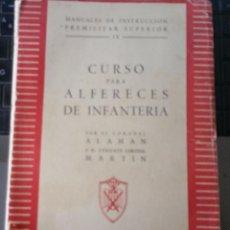Militaria: LIBRO DE CURSO PARA ALFERECES DE INFANTERIA AÑO 1945. Lote 57719340