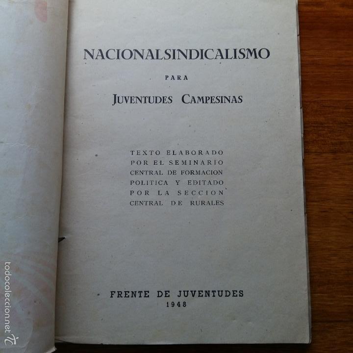 Militaria: NACIONALSINDICALISMO PARA JUVENTUDES CAMPESINAS. SEMINARIO CENTRAL DE FORMACION POLITICA. 1948 - Foto 2 - 57762238
