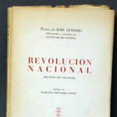 Militaria: REVOLUCIÓN NACIONAL PUNTOS FALANGE TEXTOS JOSÉ ANTONIO ED PRENSA MOVIMIENTO 1949. Lote 68215145