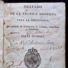 Militaria: TRATADO DE LA TACTICA MODERNA PARA LA INFANTERIA. AÑO: 1812.. Lote 58131075