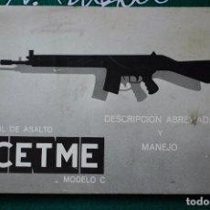 Militaria: MANUAL DE USUARIO DE FUSIL DE ASALTO CETME C CAL. 7,62 MM. GUARDIA CIVIL. MOD. 1. Lote 64415507