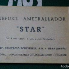 Militaria: MANUAL DE USUARIO DE SUBFUSIL STAR MOD. Z-62 CAL. 9MM. LARGO Y 9 MM. PB. GUARDIA CIVIL.ULTIMA UNIDAD. Lote 64631531
