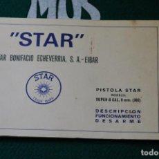 Militaria: MANUAL DE USUARIO DE PISTOLA STAR SUPER S CAL. 9MM. CORTO. GUARDIA CIVIL. MOD. 3. ULTIMA UNIDAD. Lote 65008827