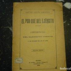Militaria: EL POR QUE DEL EJERCITO 1906 MADRID GARCIA CAMINERO 1906 MADRID. Lote 65768874