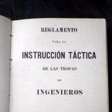 Militaria: REGLAMENTO PARA LA INSTRUCCION TÁCTICA DE LAS TROPAS DE INGENIEROS ZAPADORES 1915 CON SELLO MENORCA. Lote 67382213