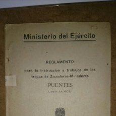 Militaria: REGLAMENTO INSTRUCCION ZAPADORES MINADORES PUENTES 1940. Lote 68015194