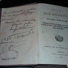 Militaria: LIBRO TACTICA DE INFANTERIA 1877 CAPITAN GENERAL MARQUES DEL DUERO. DEDICADO MILITAR EN MANILA. Lote 72252825