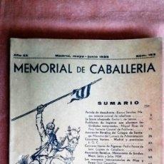 Militaria: MEMORIAL DE CABALLERIA, Nº 183 - MAYO Y JUNIO 1935, 168 PAGINAS. Lote 72553891