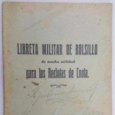 Militaria: RARA LIBRETA MILITAR DE BOLSILLO EDITADA EN ÉPOCA REPUBLICANA. 1933. Lote 73679887