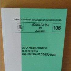 Militaria: DE LA MILICIA CONCEJIL AL RESERVISTA. UNA HISTORIA DE GENEROSIDAD. Lote 76968573
