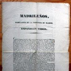 Militaria: 1843 - MADRILEÑOS -POR LA LIBERTAD - BANDO DE 4 DE JULIO DE 1843. - POR SAGASTI - ORIGINAL - MADRID . Lote 81285052