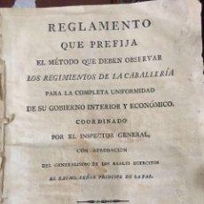 Militaria: REGLAMENTO PARA LOS REGIMIENTOS DE CABALLERÍA. IMPRENTA DE CAMAZÓN MADRID 1825. Lote 82974452