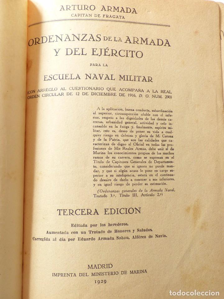 ORDENANZAS DE LA ARMADA, ESCUELA NAVAL MILITAR. 1929. (Militar - Libros y Literatura Militar)