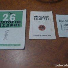 Militaria: * LOTE 3 ANTIGUO LIBRITO DE FALANGE - OJE. LIBRO ORIGINAL. ZX. Lote 85727212