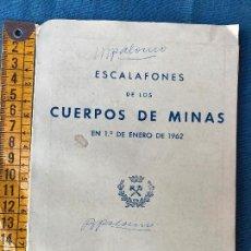 Militaria: ESCALAFONES DE LOS CUERPOS DE MINAS 1962. Lote 86050680