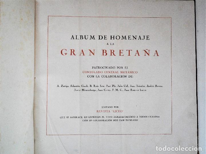 Militaria: ALBUM DE HOMENAJE A LA GRAN BRETAÑA - EDITA REVISTA LICEO AÑO 1945 - Foto 3 - 143040598