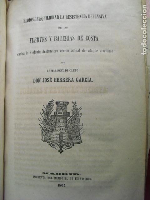 1864 FUERTES Y BATERIAS DE COSTA MARISCAL DE CAMPO JOSÉ HERRERA GARCÍA (Militar - Libros y Literatura Militar)