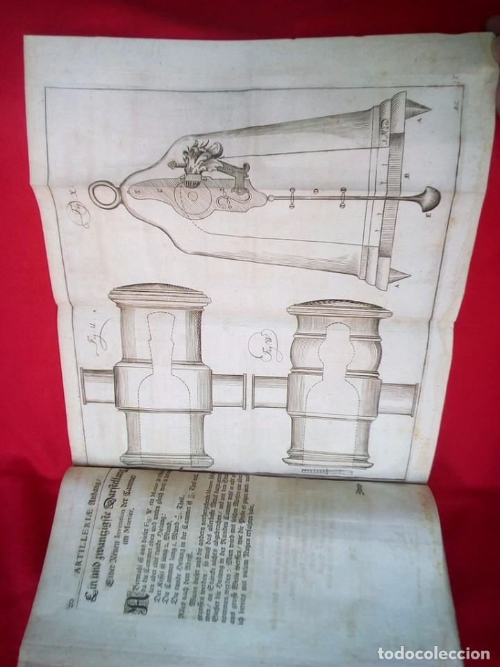 Militaria: 1687- 89 DECENAS DE GRABADOS ALGUNOS PLEGADOS ESCUELA DE GUERRA TRATADO DE ARTILLERIA 35 CMS - Foto 25 - 88132680