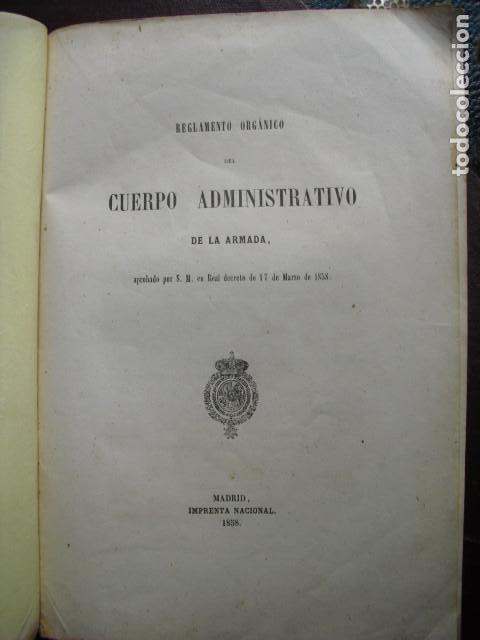 1858 REGLAMENTO ORGÁNICO DEL CUERPO ADMINISTRATIVO DE LA ARMADA (Militar - Libros y Literatura Militar)