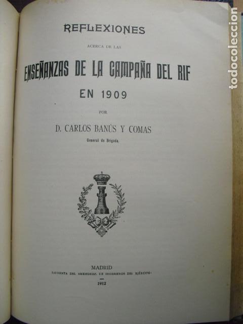 1912 REFLEXIONES SOBRE LAS ENSEÑANZAS DE LA CAMPAÑA DEL RIF DE 1909 GENERAL BANÚS (Militar - Libros y Literatura Militar)