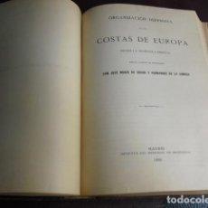 Militaria: 1889 ORGANIZACION DEFENSIVA DE LAS COSTAS DE EUROPA JOSÉ MARÍA DE SOROA. Lote 90524585