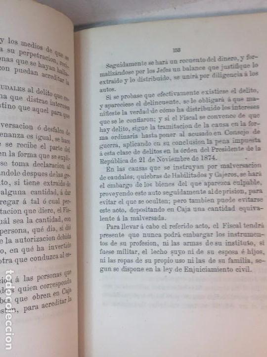 Militaria: Enjuiciamiento Militar Francisco Broncano 1876 leyes legal Madrid 2ª edición. buena conservación - Foto 2 - 90654940