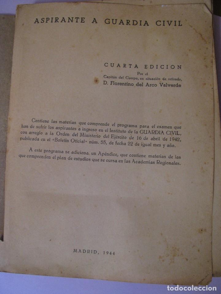 Militaria: ASPIRANTE A GUARDIA CIVIL AÑO 1944. CUARTA EDICIÓN. - Foto 3 - 93176045