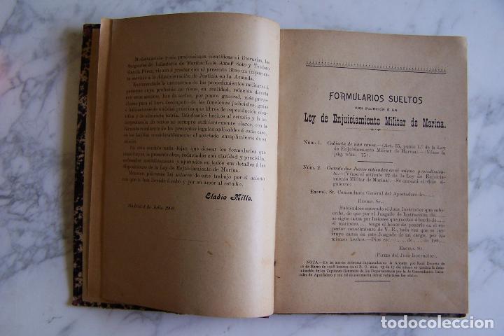Militaria: FORMULARIOS PRÁCTICOS CON SUJECIÓN A LA LEY DE ENJUICIAMIENTO MILITAR DE MARINA. APROX. 1900 - Foto 4 - 96092391
