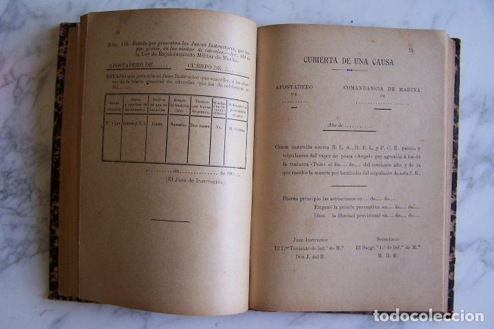 Militaria: FORMULARIOS PRÁCTICOS CON SUJECIÓN A LA LEY DE ENJUICIAMIENTO MILITAR DE MARINA. APROX. 1900 - Foto 5 - 96092391