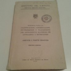 Militaria: 548 - NORMAS CLASIFICACION CONSERVACION INUTILIZACION ARMAMENTO ARTILLERIA MUNICIONES AMEXOS 1958. Lote 98514475