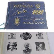 Militaria: CAMPAMENTO DE ROBLEDO. IPS. 5ª COMPAÑÍA. AÑO 1944. MADRID, ALBUM IMPRESO, MIDE 30 X 21 CM. CON 40 HO. Lote 99505991