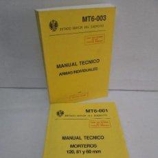 Militaria: MANUAL TECNICO: MORTEROS MT6-001. ARMAS INDIVIDUALES MT6-003. ESTADO MAYOR DEL EJERCITO. VER FOTOS. Lote 99846887