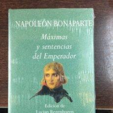 Militaria: NAPOLEÓN BONAPARTE. MÁXIMAS Y SENTENCIAD DEL EMPERADOR. Lote 101183568