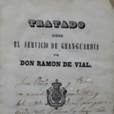 Militaria: TRATADO SOBRE EL SERVICIO DE GRAN GUARDIA POR RAMON DEL VAL MADRID 1850 CABALLERIA . Lote 103883355
