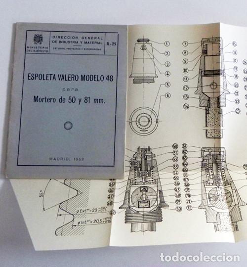 ESPOLETA VALERO MODELO 48 PARA MORTERO DE 50 Y 81 MM - GUÍA LIBRITO MINISTERIO DEL EJÉRCITO ESPAÑA (Militar - Libros y Literatura Militar)