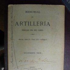 Militaria: DICIEMBRE DE 1905 MEMORIAL DE ARTILLERIA. Lote 106073935