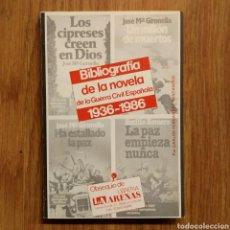 Militaria: GUERRA CIVIL - BIBLIOGRAFIA DE LA NOVELA DE LA GUERRA CIVIL ESPAÑOLA, 1936-1986. Lote 121599142