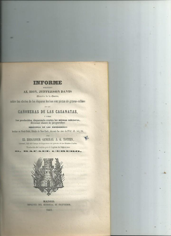INFORME ... CAÑONERAS DE LAS CASAMATAS ... WEST-POINT ... 1861 - 5 LÁMINAS (Militar - Libros y Literatura Militar)