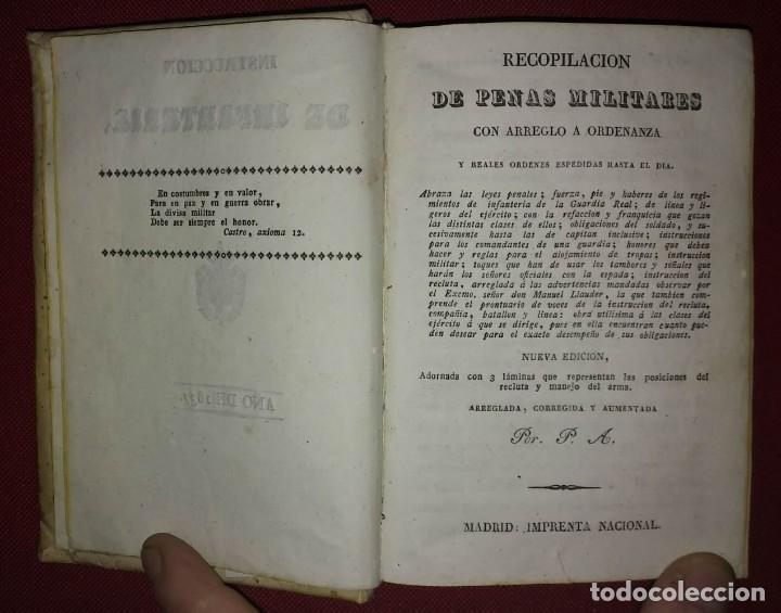 Militaria: 1837 Instruccion de infanteria. Recopilación de penas militares - Foto 4 - 114387227