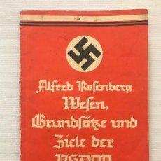 Militaria: LIBRO WESEN, GRUNDSÄTZE UND ZIELE DER NSDAP. ALFRED ROSENBERG 1922, TERCER REICH, NAZI, NSDAP HITLER. Lote 115297919