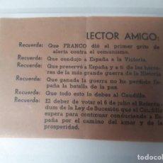 Militaria: GUERRA CIVIL REFERENDUM DE FRANCO. Lote 116078811