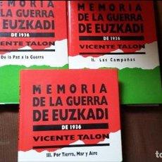 Militaria: VICENTE TALON: MEMORIA DE LA GUERRA DE EUZKADI DE 1936. Lote 122674279