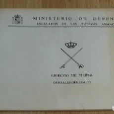 Militaria: LIBR MINISTERIO DEFENSA ESCALAFÓN FUERZAS ARMADAS OFICIALES GENERALES EJERCITO TIERRA 1988. Lote 124513331