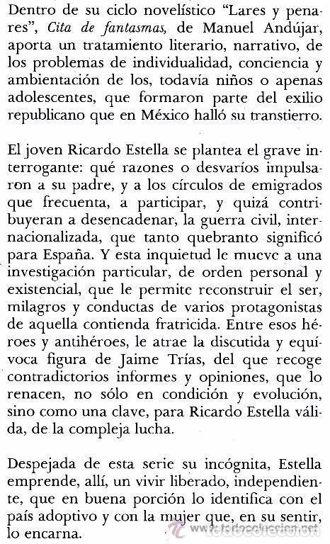 Militaria: B817 - CITA DE FANTASMAS. Manuel Andujar. Guerra Civil. Exilio Republicano. 1ª Edicion Laia 1984. - Foto 2 - 126355395