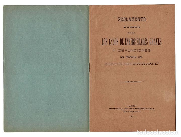 Militaria: REGLAMENTO LOS CASOS DE ENFERMEDADES GRAVES Y DEFUNCIONES. CUERPO INGENIEROS DE MONTES 1896 - Foto 2 - 198314302
