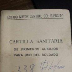 Militaria: CARTILLA SANITARIA DE PRIMEROS AUXILIOS PARA UN SOLDADO. Lote 134417963