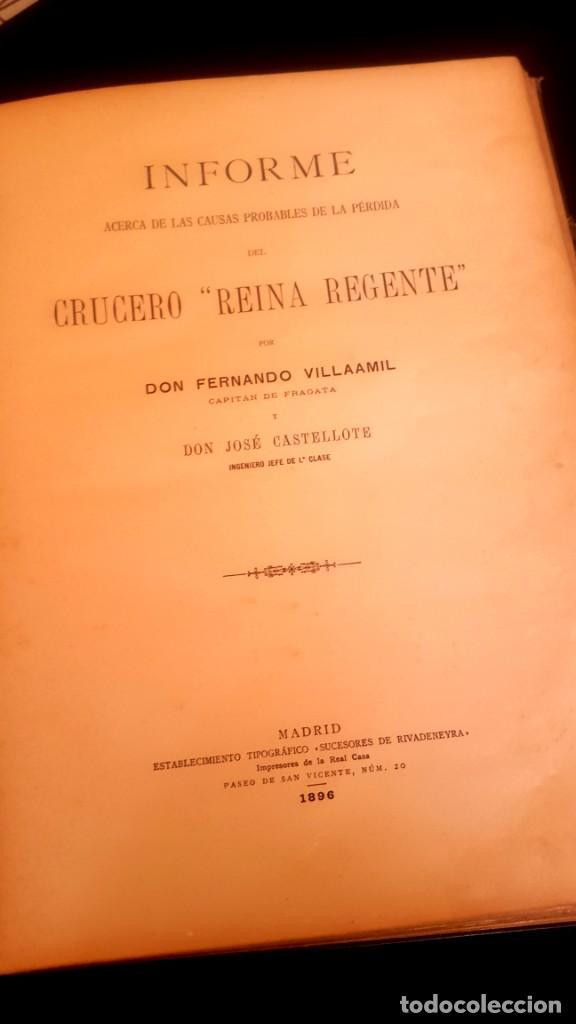 Militaria: BARCO - HUNDIMIENTO CRUCERO REINA REGENTE - 1896 - INFORME - Foto 2 - 135231898
